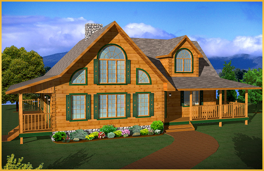 Log home models applewood colonial concepts log for Colonial log homes