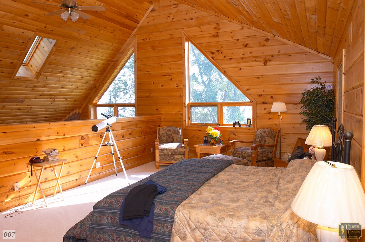 Log Home Balsalm Model Loft Bedroom Colonial