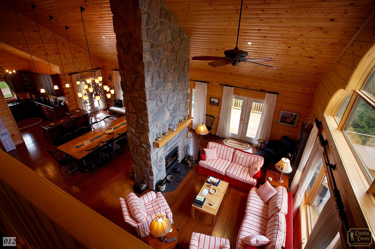 Log home, open to below, high ceiling