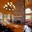 Log home dining room with fireplace