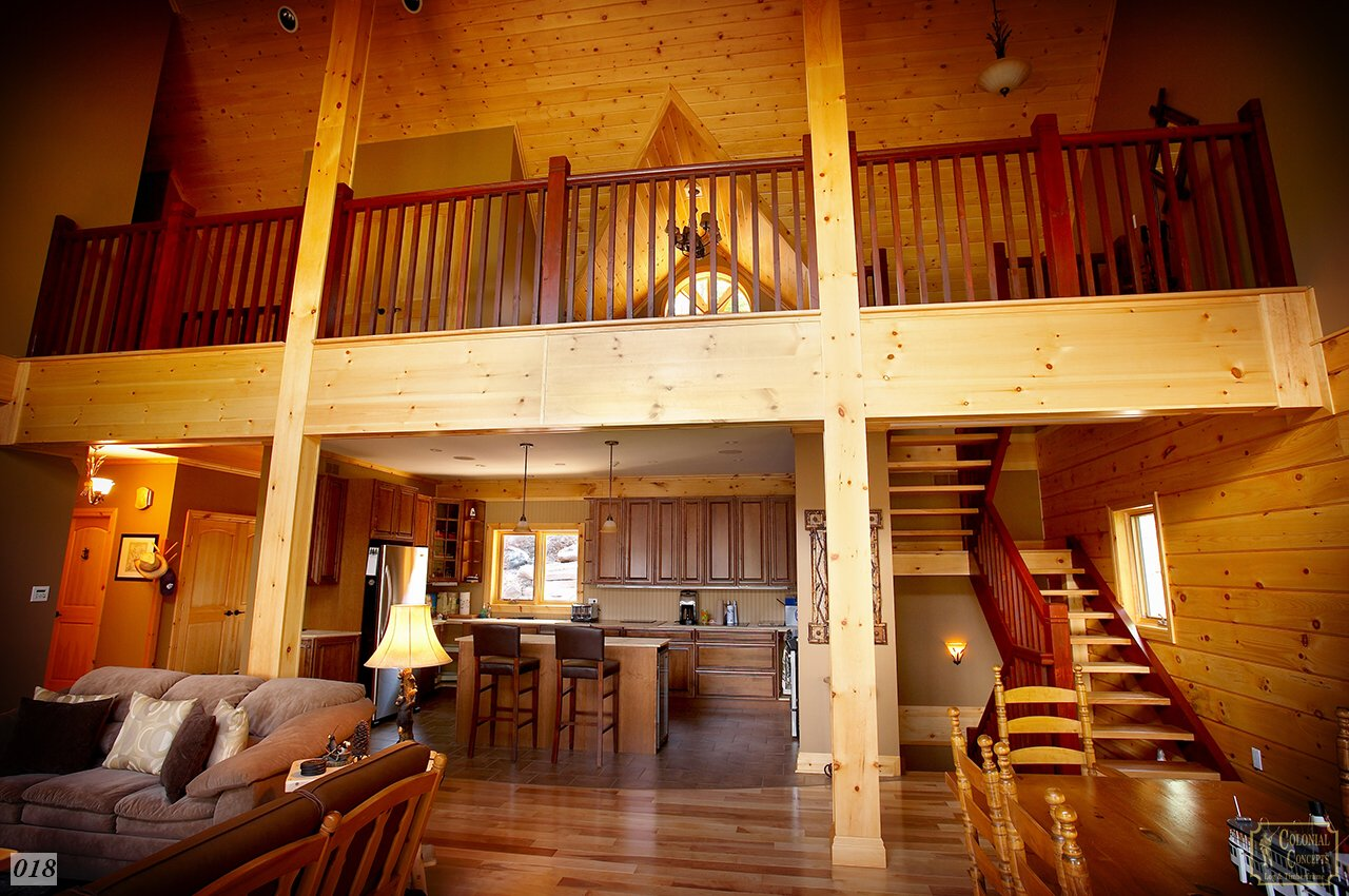 Log home with second floor loft