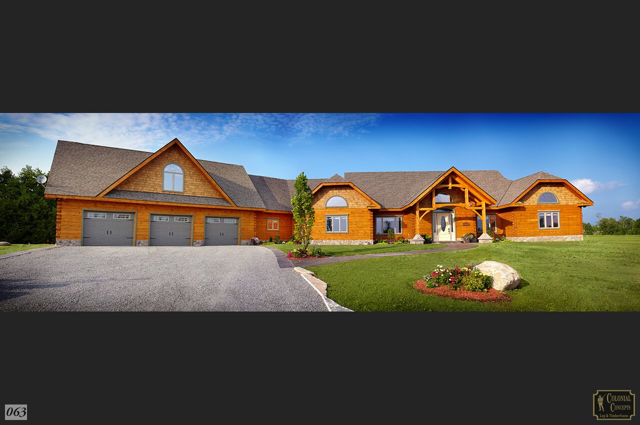 Log home sycamore model with 3 car garage colonial for 3 car garage homes