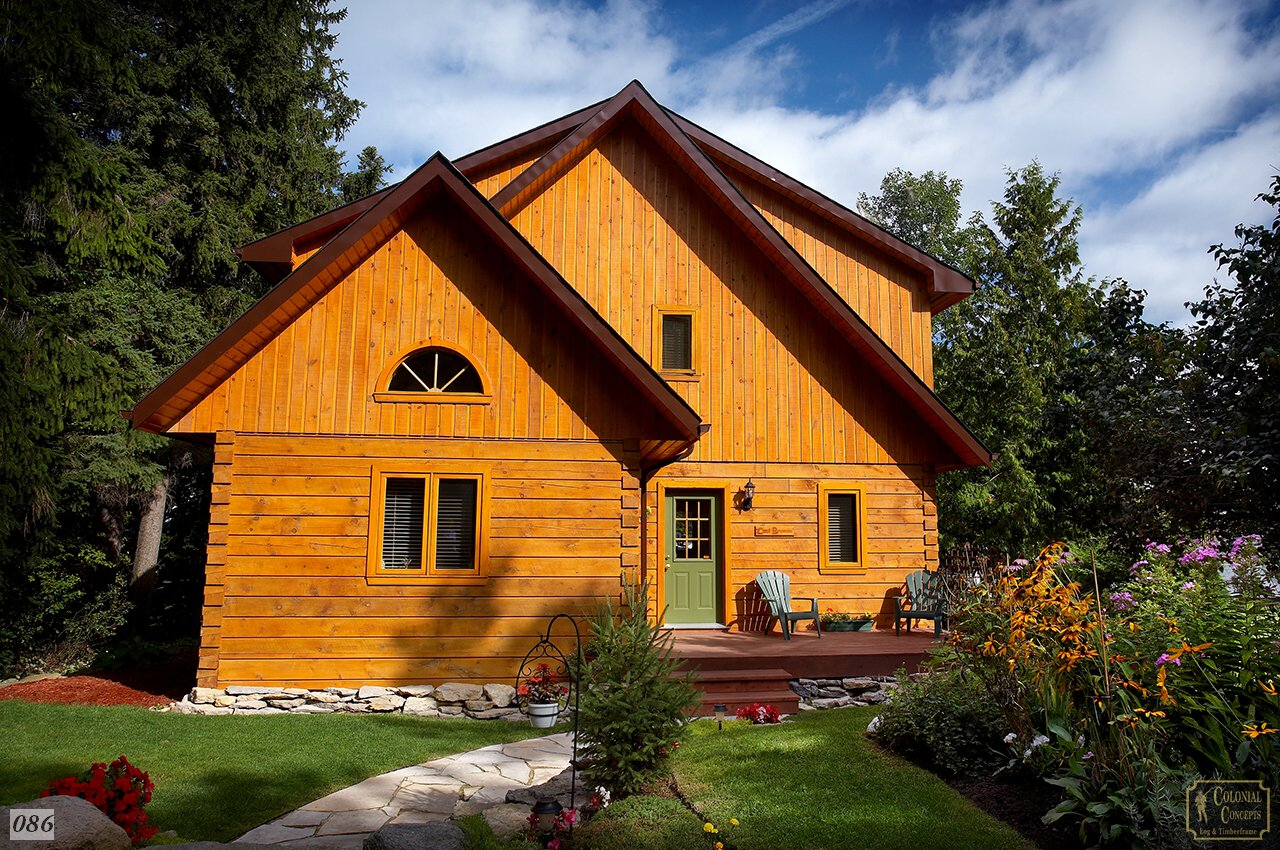 log cabin with blue sky