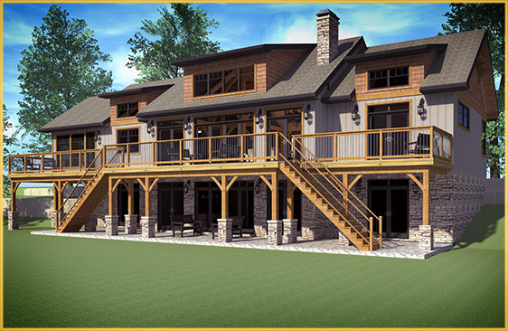 log home 3d rendering baysville model