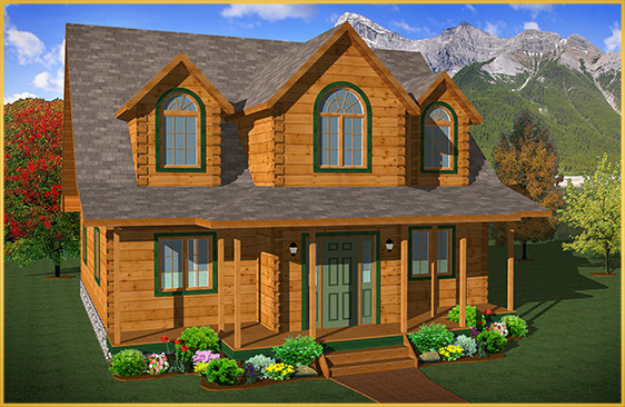 log home 3d rendering beechwood II model