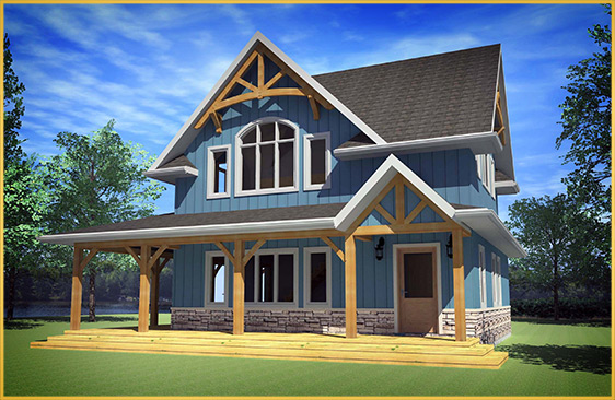 log home 3d rendering cottager model