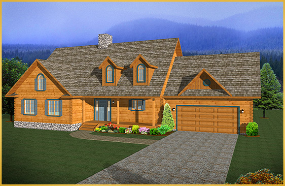 log home 3d rendering heritage model
