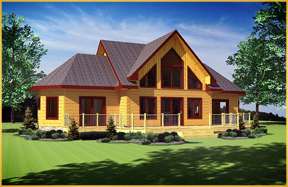 log home 3d rendering innisfil model