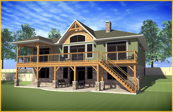 log home 3d rendering lakeridge model