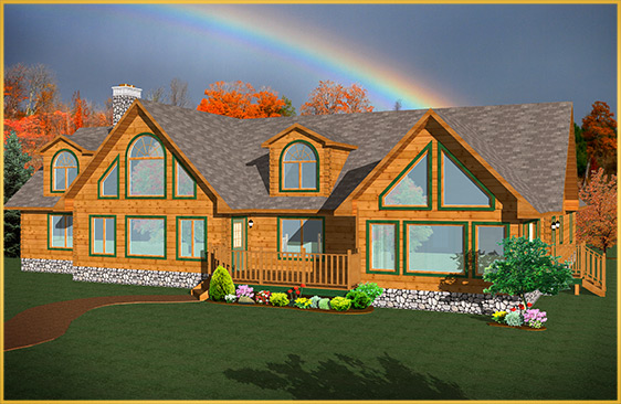 log home 3d rendering magnolia model