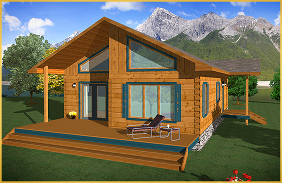 log home 3d rendering mohawk model