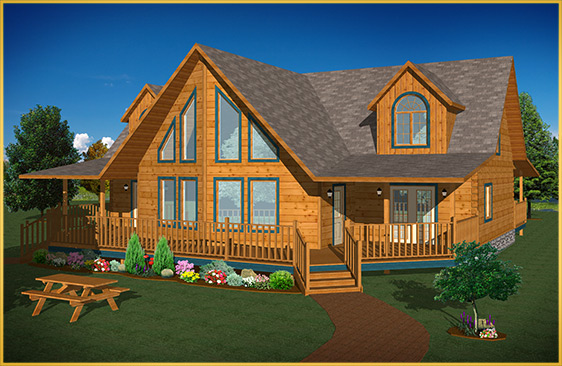 log home 3d rendering mulberry model