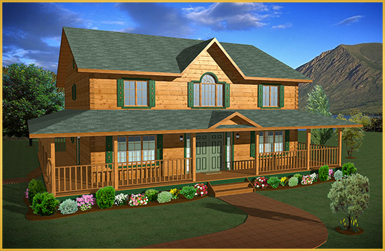 log home 3d rendering niagara model