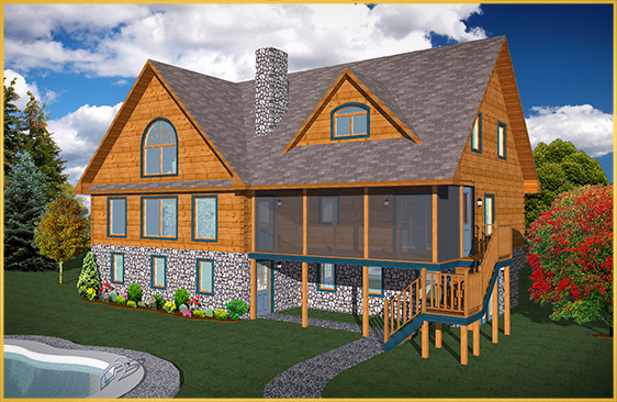 log home 3d rendering poplar model