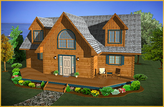 log home 3d rendering redwood model