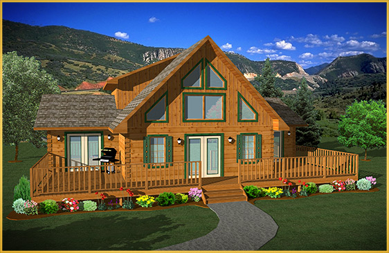 log home 3d rendering wellington model