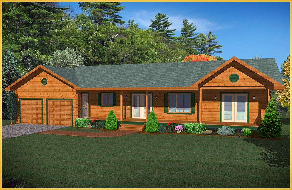 log home 3d rendering aspen model