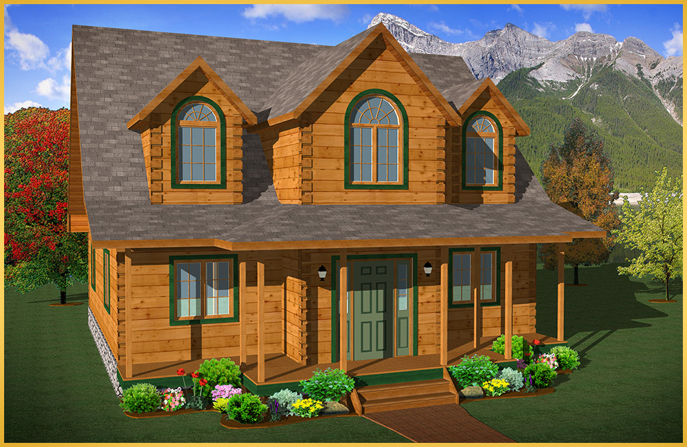 Log home models beechwood ii colonial concepts log for Colonial log homes