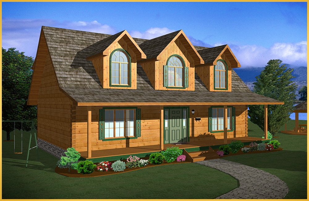 log home 3d rendering cartier model