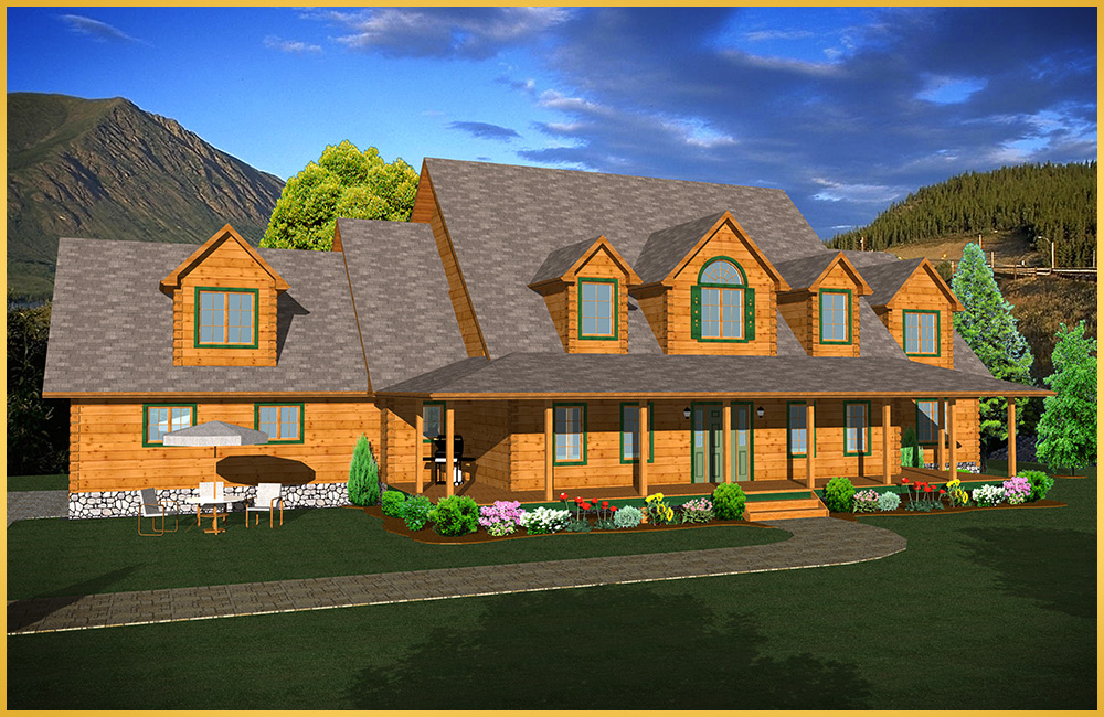 log home 3d rendering grandview model