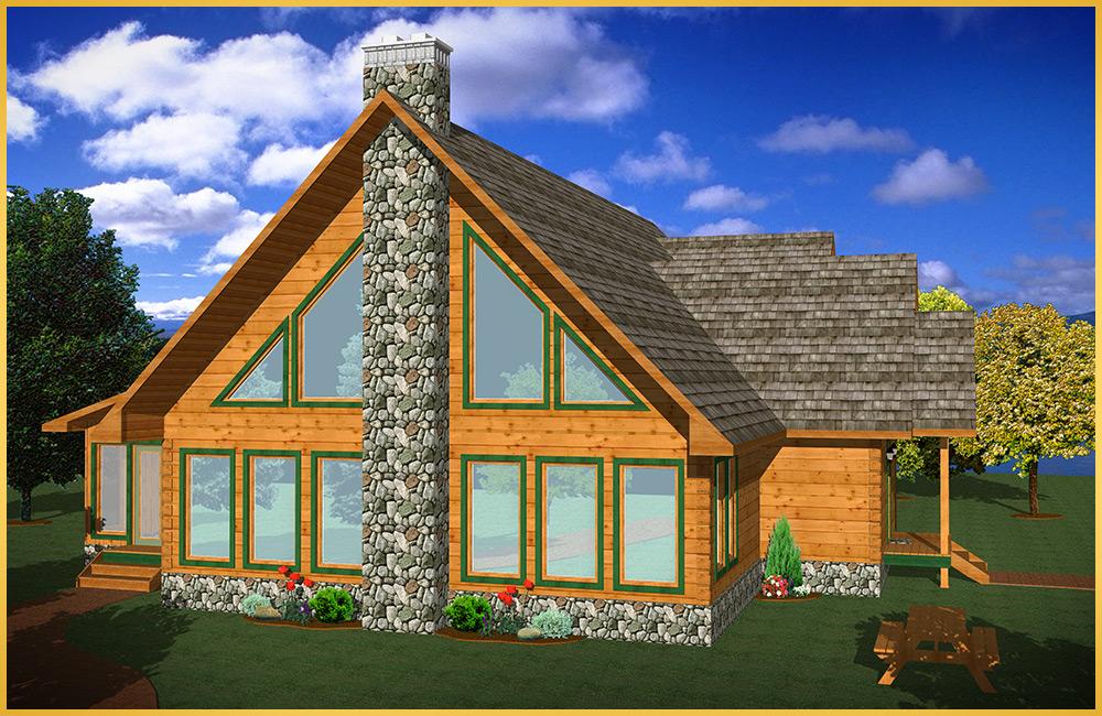 log home 3d rendering hawthorn model