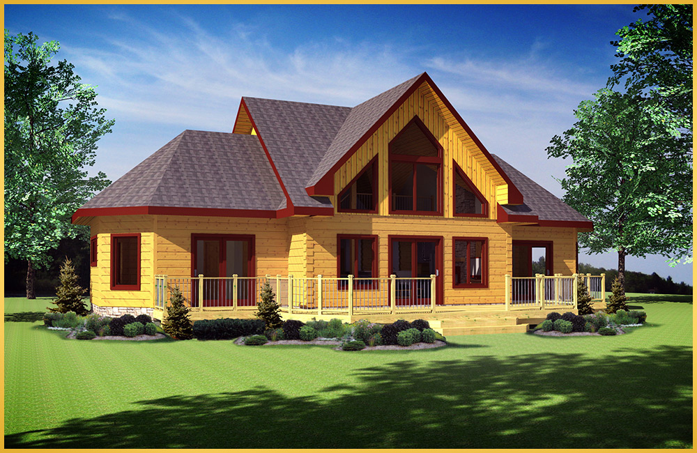 Log home models innisfil colonial concepts log for Colonial log homes