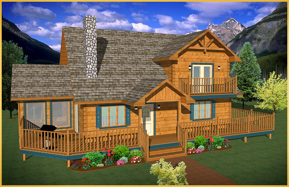 log home 3d rendering linden model
