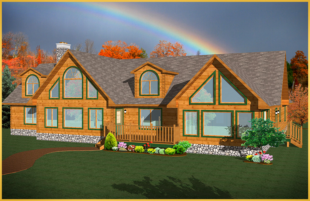 log home 3d rendering magnolia model