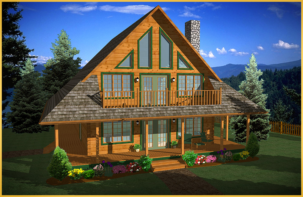 log home 3d rendering mimosa model