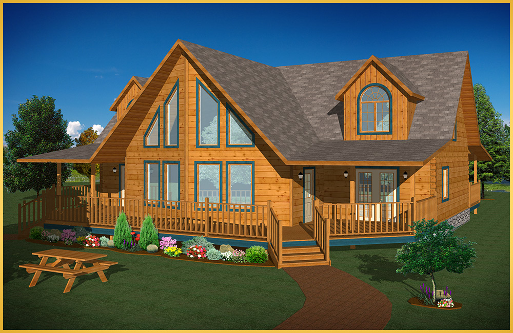 Log home models mulberry colonial concepts log for Colonial log homes