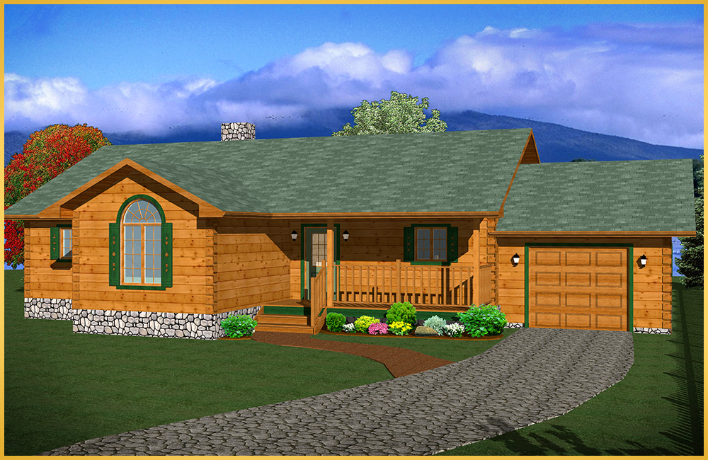 log home 3d rendering oakwood model