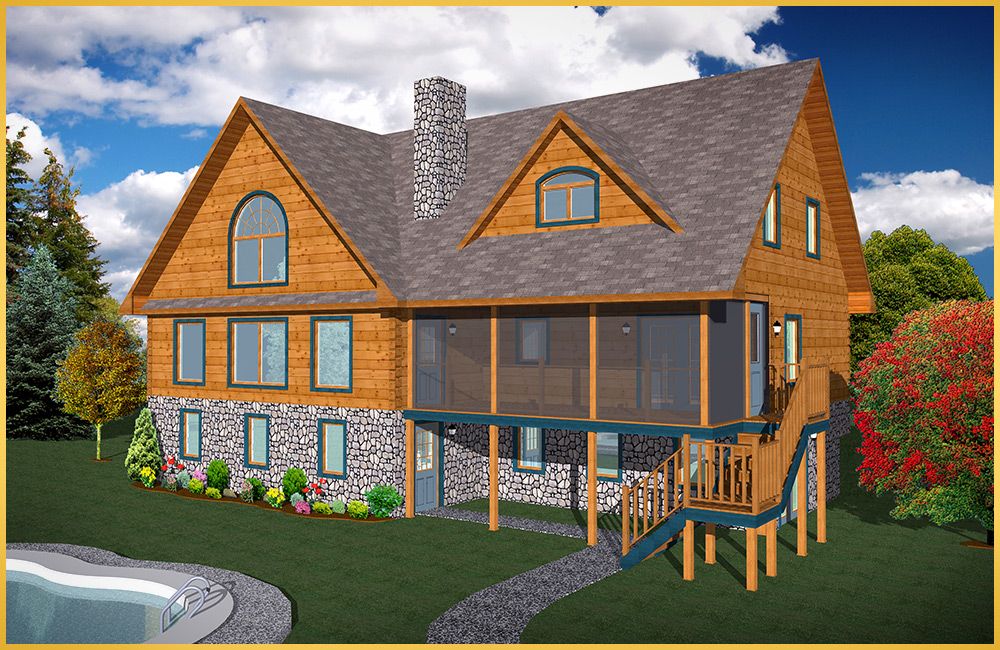 Log home models poplar colonial concepts log timberframe for Colonial log homes