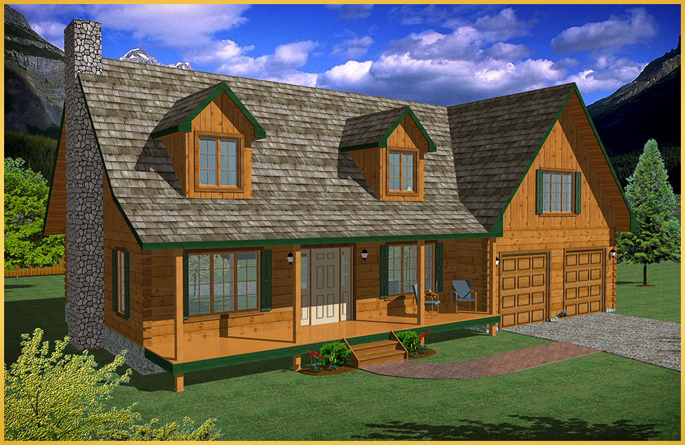 log home 3d rendering riverwood model