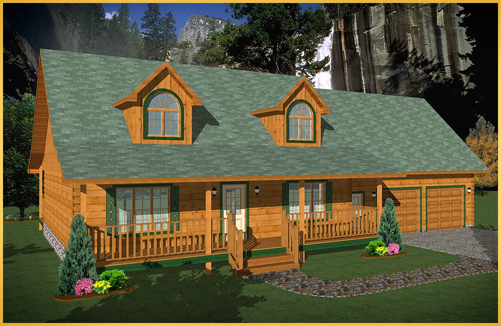 log home 3d rendering woodland model