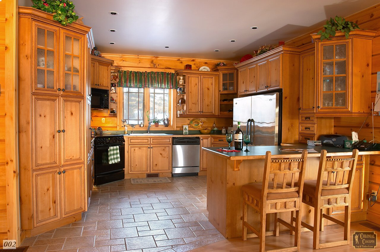 Log home kitchen, Buckhorn Ontario