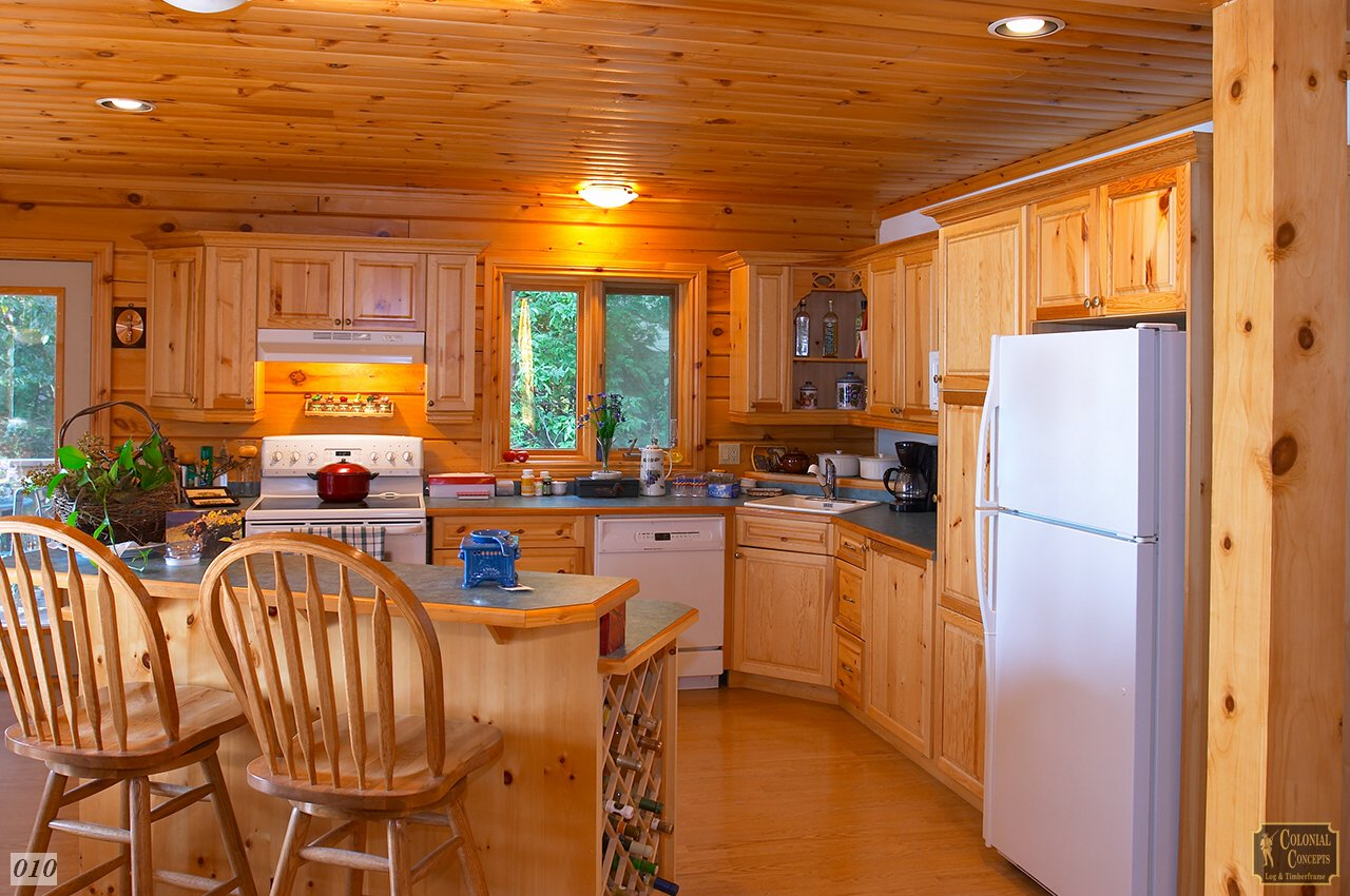 Log home kitchen, wood, near Lindsay Ontario
