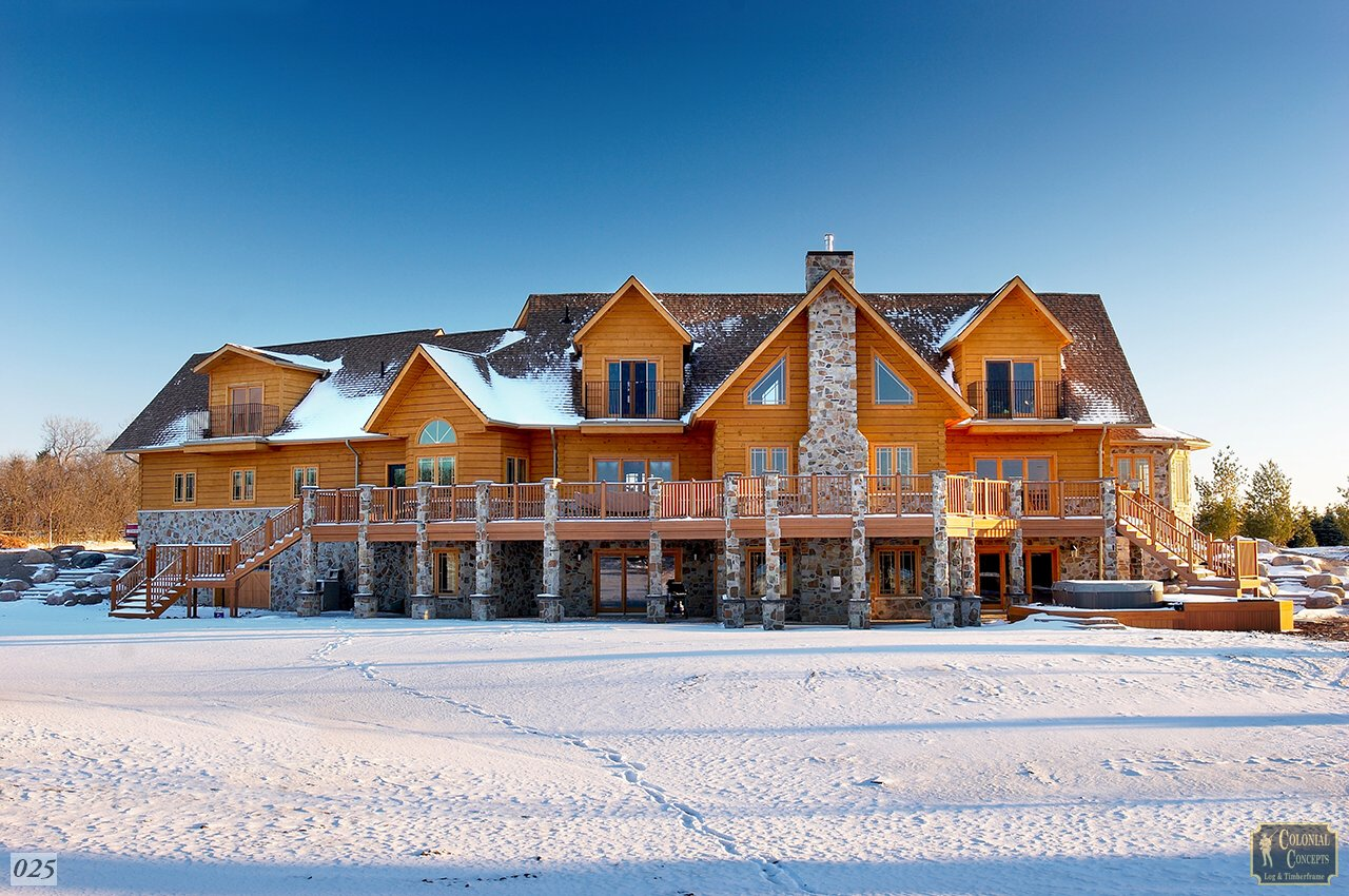 Log home, grand chalet, winter with snow, Southern Ontario