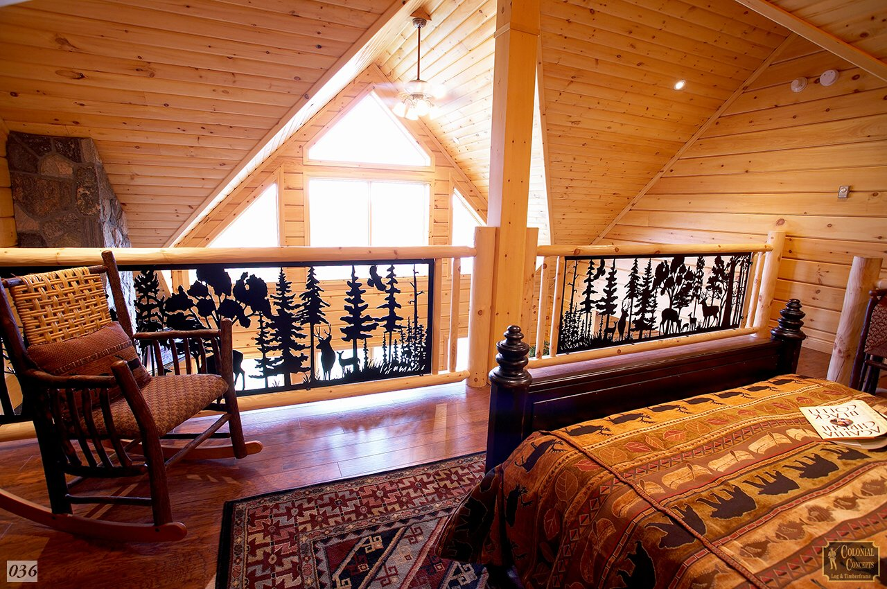 Log home loft bedroom with custom railings, Ontario