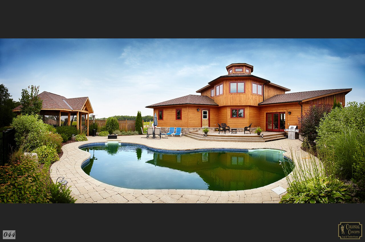 log home with swimming pool, Ontario Canada