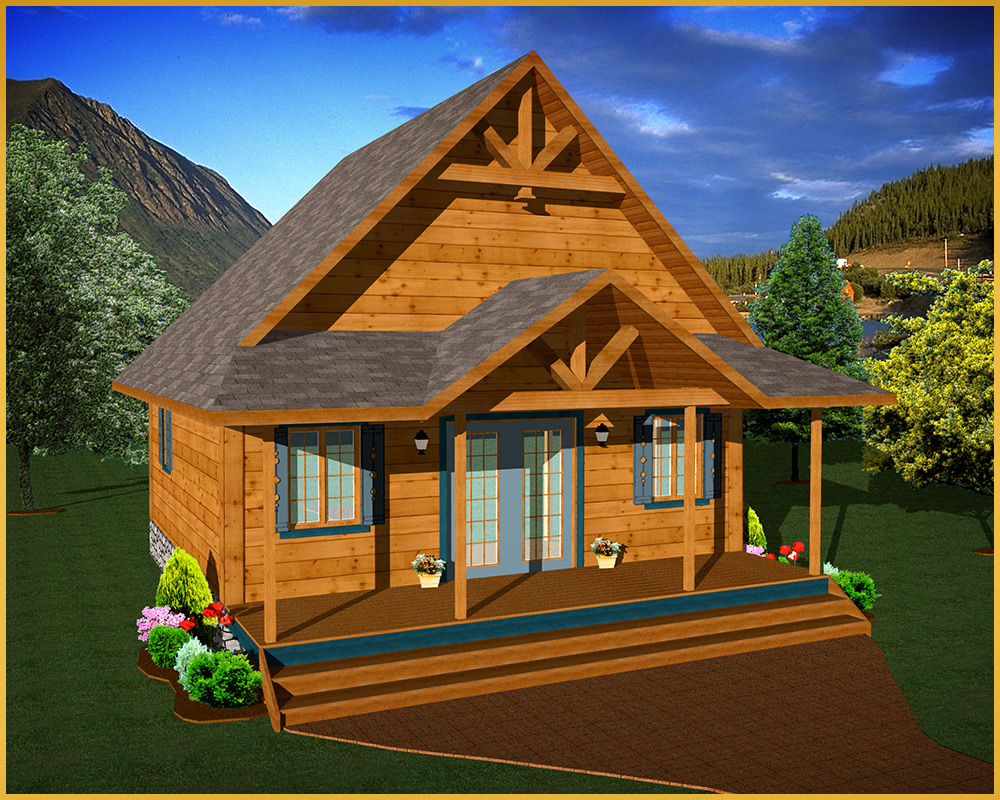 log cabin 3d rendering cabin model III