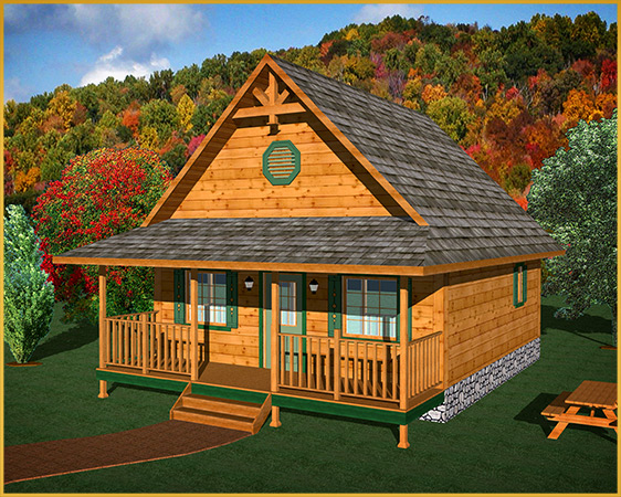log cabin 3d rendering cabin model I