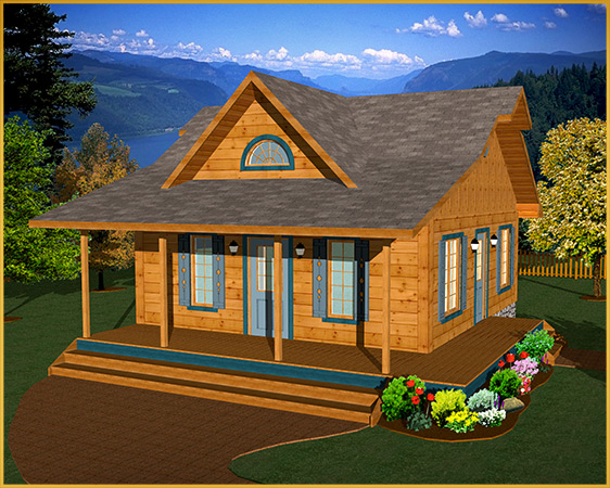 Log timberframe home designs cabin series colonial for Colonial log homes