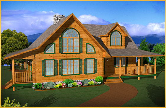 log home 3d rendering applewood model