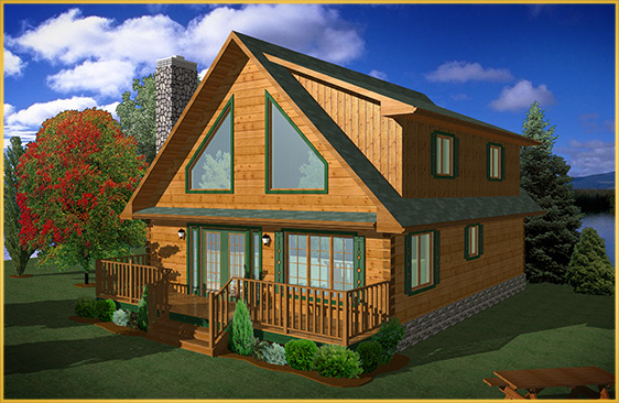 log home 3d rendering balsalm model