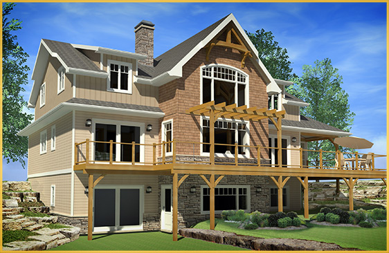 log home 3d rendering belmont model