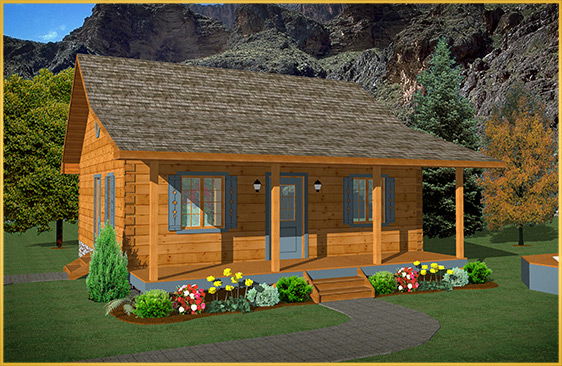 log home 3d rendering birch model