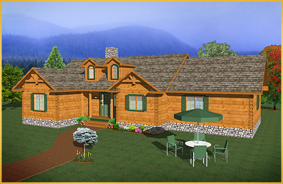 log home 3d rendering brock model