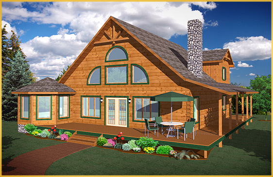 log home 3d rendering cottonwood model