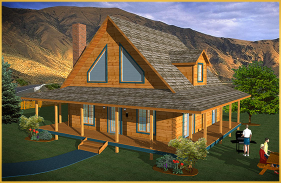 log home 3d rendering juniper model