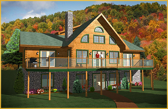 log home 3d rendering lakeview model